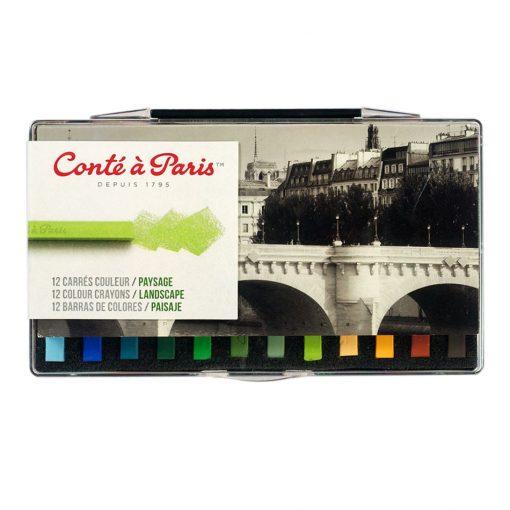 Conte Carre Crayon Set - 12 Landscape Colours