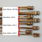 Wooden knitting needles in 4 sizes