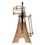 Schacht Flat Iron Spinning Wheel end on