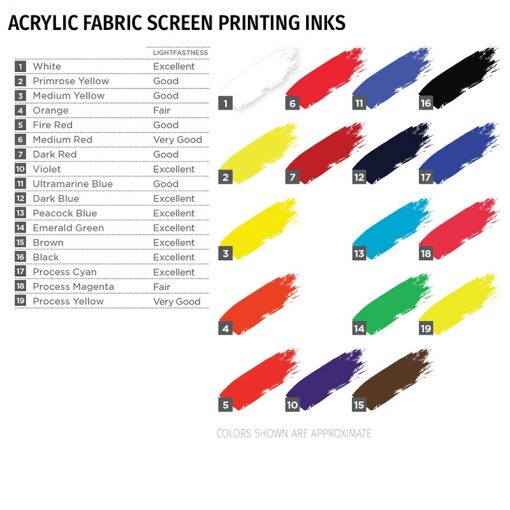 Speedball Acrylic Screen Printing Ink colours, 944ml
