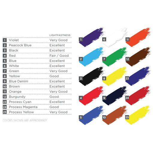 Speedball Fabric Screen Printing Ink colour chart