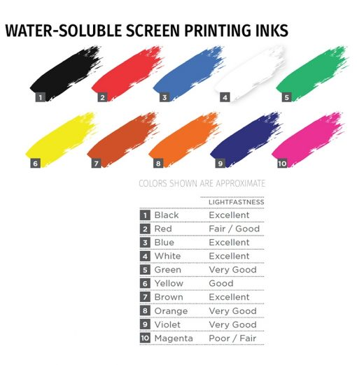 Speedball Water Soluble Screen Printing Ink colours