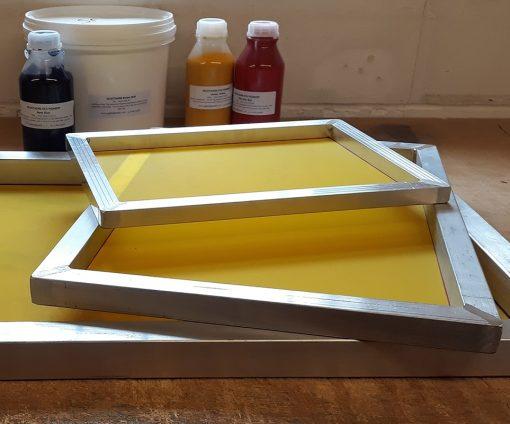 A2 Aluminium Screen Printing Frame: 90T yellow mesh