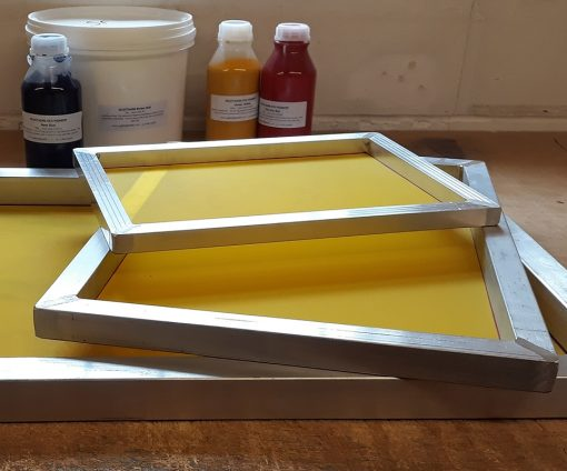 Frame for screen printing onto paper