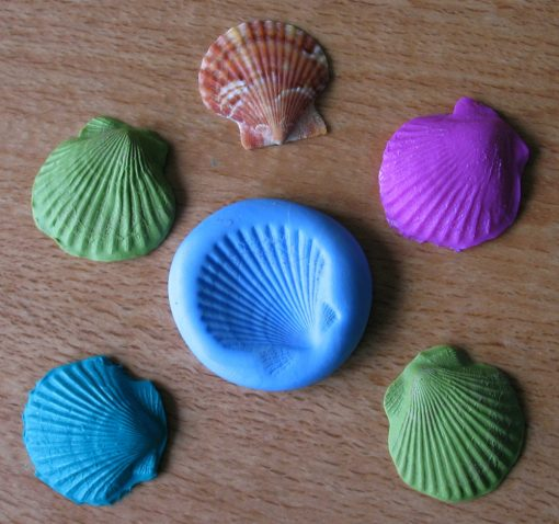 Polymer Clay shells made using Gedeo Siligum Mould