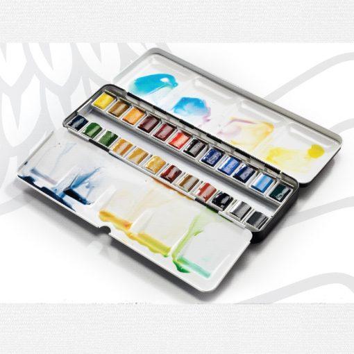 Winsor & Newton Professional Water Colour Lightweight Enamelled Box 24 Half Pans