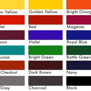Colour chart for fabric dyes