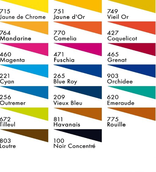 Colour chart for H Dupont Silk Dyes