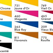 250ml Colour chart for H Dupont Silk Dyes