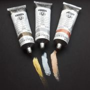 Water based gold silver copper printing inks