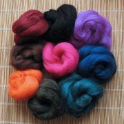 Mixed Bag of Merino Wool Tops (dark colours) 1kg
