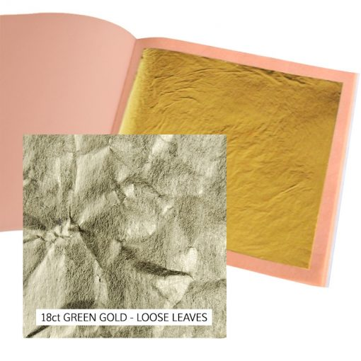 18ct Green Gold Leaf Loose 13g: 80 x 80mm Book 25