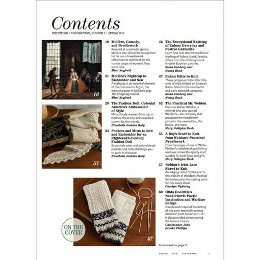 Piecework Spring 2019 contents