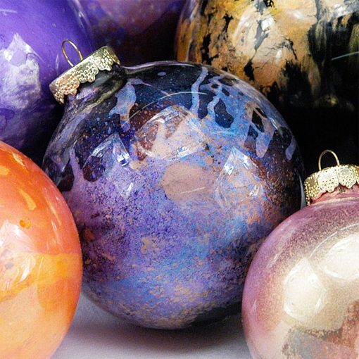 Christmas tree baubles decorated with Pearl Ex pigments
