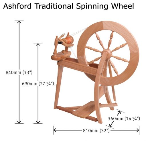 size of Ashford Traditional Spinning Wheel