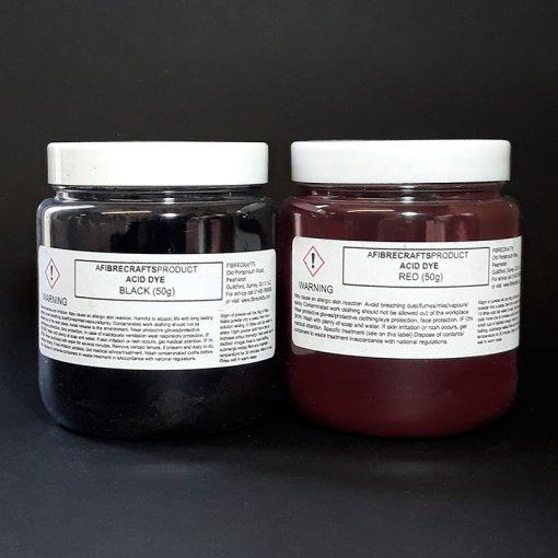 Dye wool or silk with acid dyes
