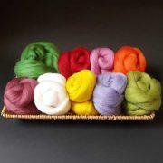Feltmaking wool 10g x 10 colours