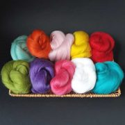 10 colour selection of wool tops