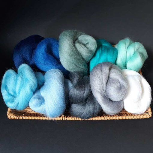 Wool for felt making Ocean colours