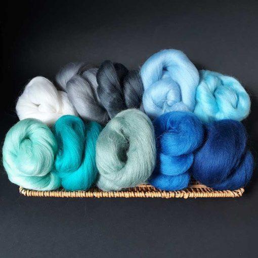Merino wool: blues and greys of the ocean