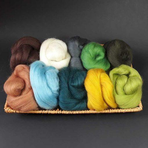 Bag assorted wool tops Woodland theme