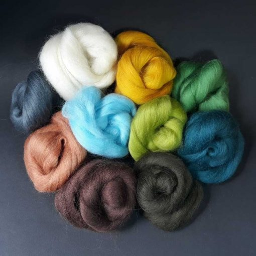 100g of mixed coloured wool tops for felting
