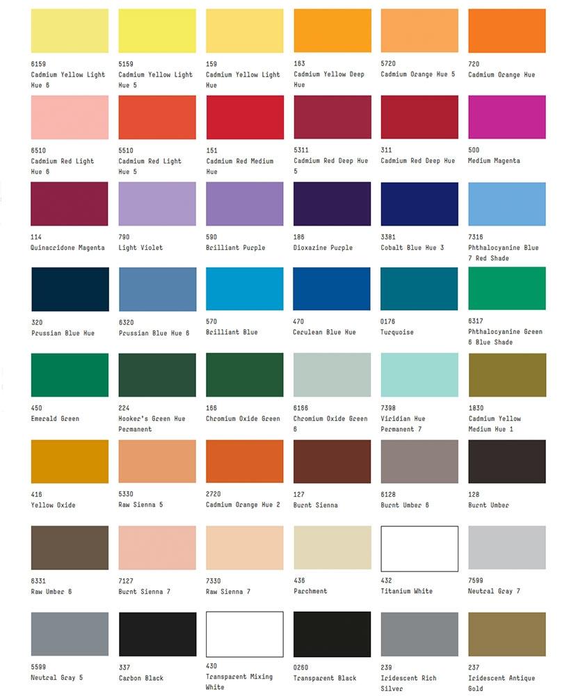 Liquitex colour chart