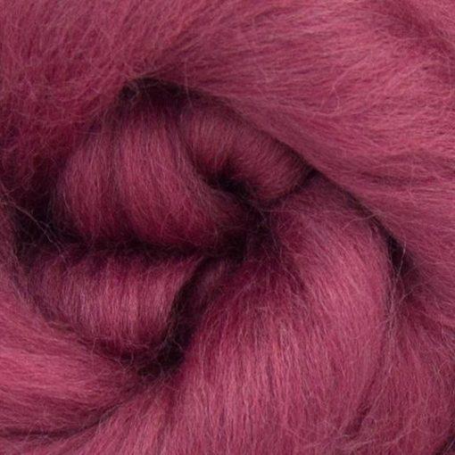 Mulberry coloured Merino Wool tops