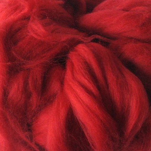 Bright Red Crimson Dyed Merino Wool Tops