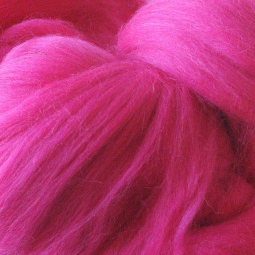 Fuchsia Pink Dyed Merino Wool Tops