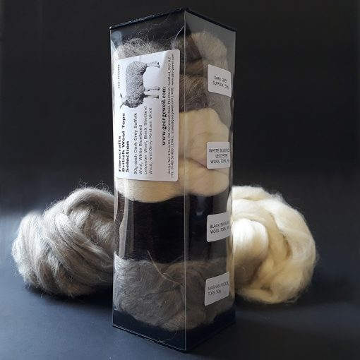 Selection of British Wool Tops for hand spinning