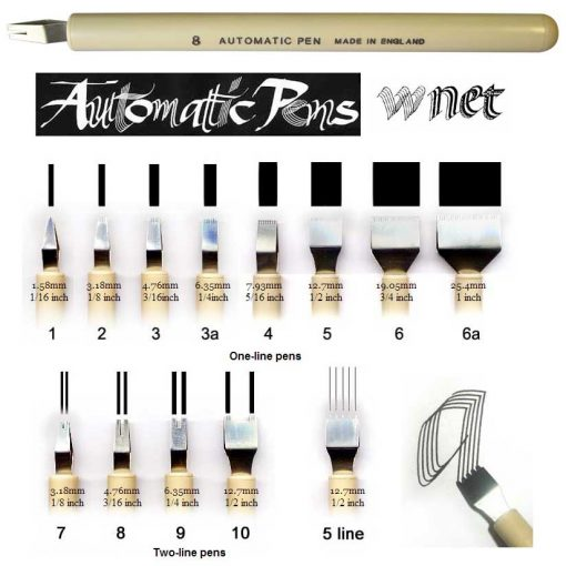1, 2, and 5 line nibs for calligraphy Automatic Pens