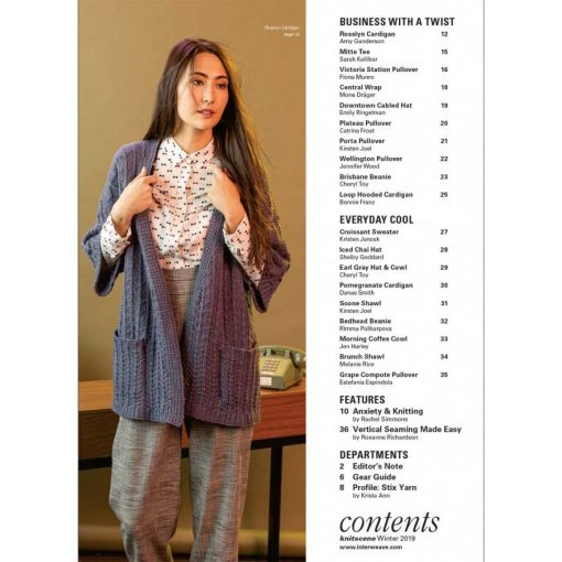 Interweave Knitscene Winter 2019 magazine contents