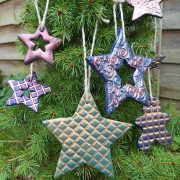 Texture maker on polymer clay Christmas decorations