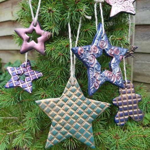 Polymer clay Christmas decorations made with Texture makers
