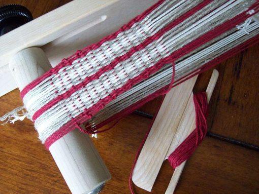 A beginners weaving on a Schacht Inkle loom