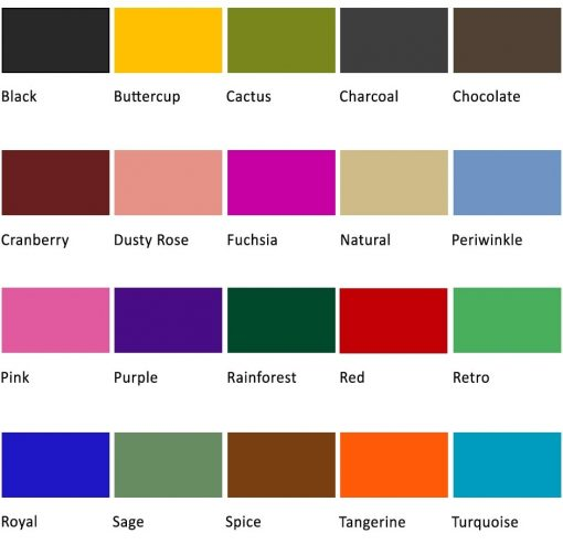 Colour chart for handmade paper