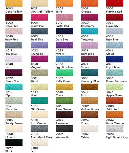 Venne Organic Cotton Yarn Colour Chart