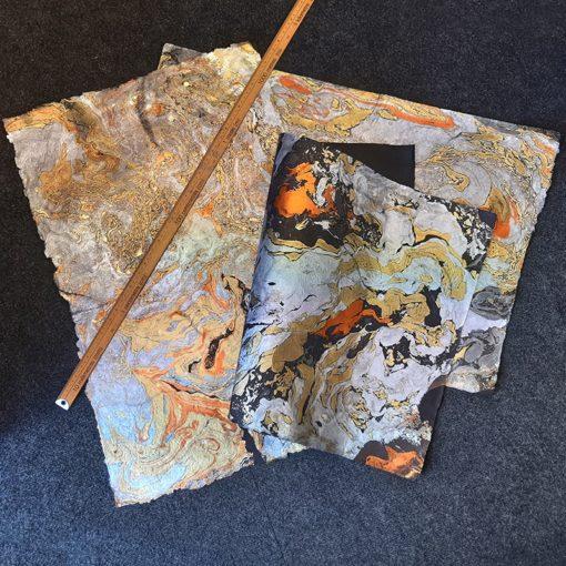 Swirls of silver, gold & copper on handmade paper