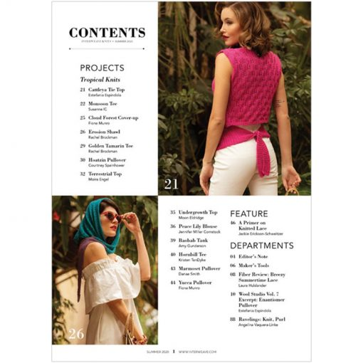 Interweave Knits Summer 2020 contents page