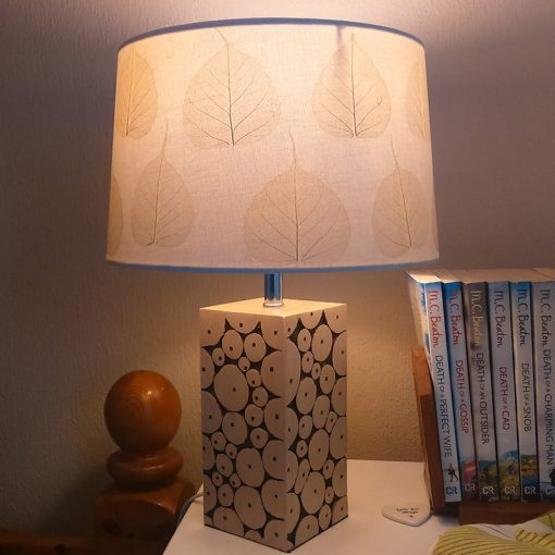 Natural skeleton leaves on lampshade
