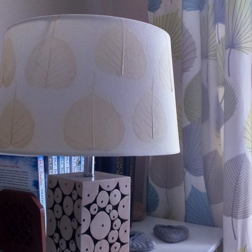 Custom Lampshade with skeleton leaves