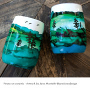 Vases painted with Pinata Alcohol Inks