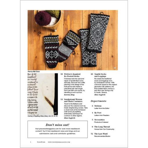 Piecework Fall 2020 magazine contents